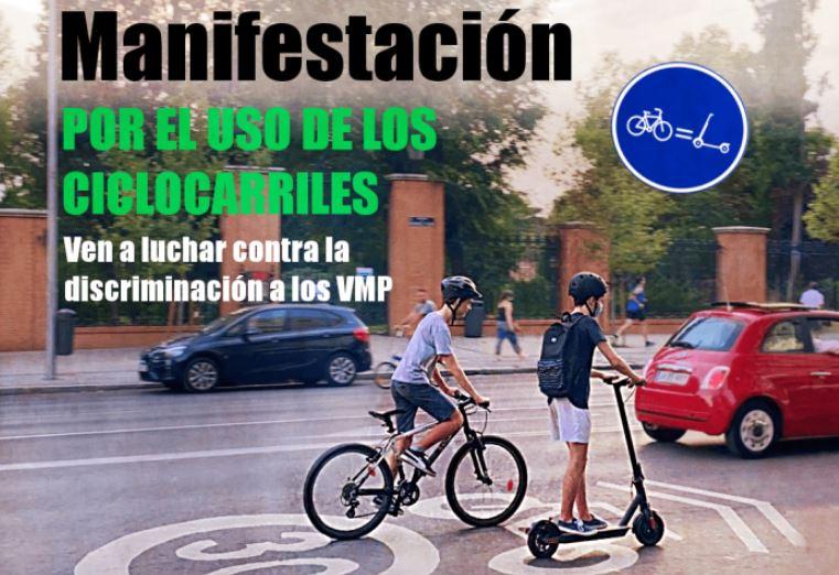 Manifestación por el uso de los ciclocarriles en Madrid con Patinetes